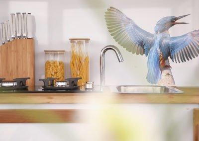 Küchenecke im Eisvogel Maxi Hausboot